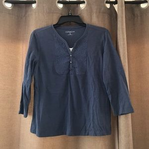 Top with embroidery yoke